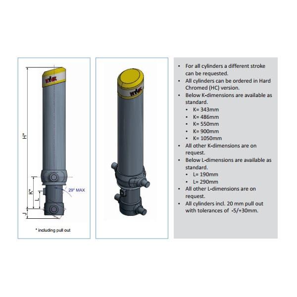 Фронтальный гидроцилиндр Hyva FC A110-3-03235-000-K0343