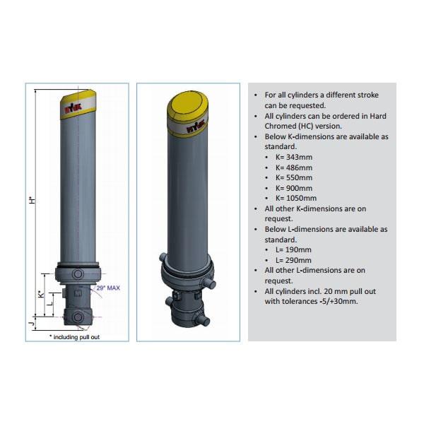 Фронтальный гидроцилиндр Hyva FC A118-3-03635-000-K0343-HD