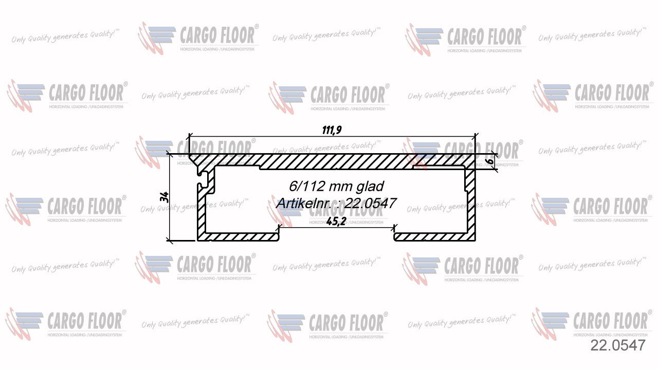 Алюминиевый профиль 6/112мм гладкий арт. CargoFloor 22.0547