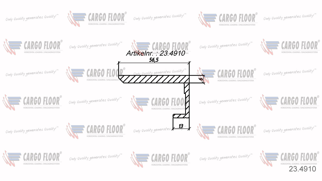 Алюминиевый боковой профиль 6/56,5мм Л/П арт. CargoFloor 23.4910