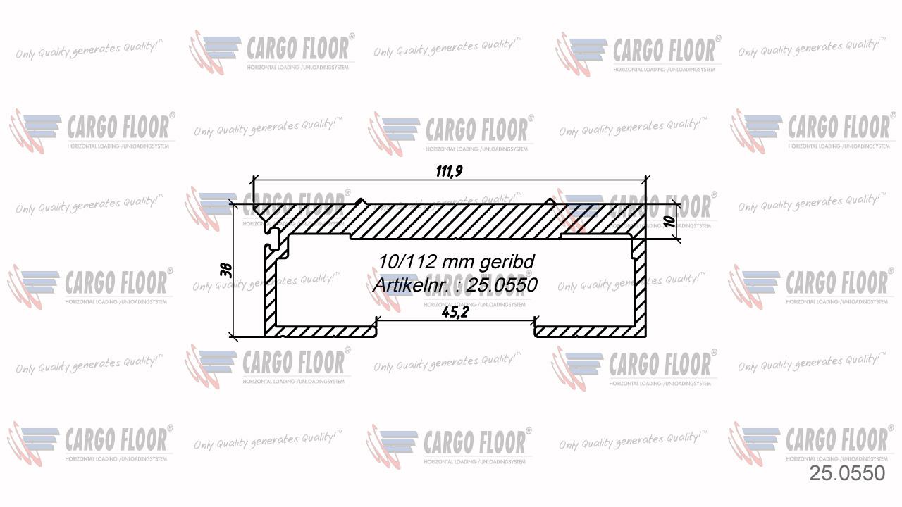 Алюминиевый профиль 10/112мм ребристый арт. CargoFloor 25.0550