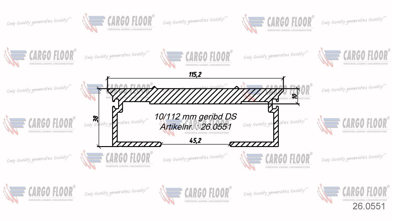 Алюминиевый профиль 10/112мм-DS ребристый арт. CargoFloor 26.0551