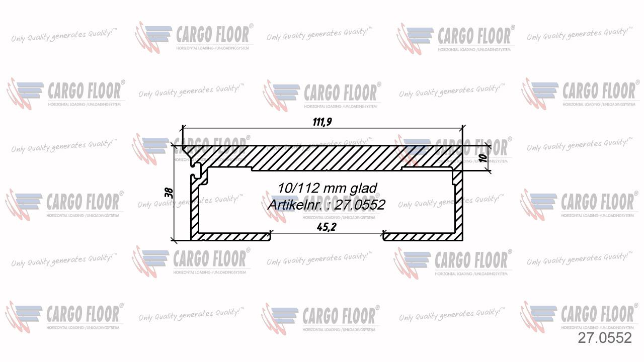 Алюминиевый профиль 10/112мм гладкий арт. CargoFloor 27.0552