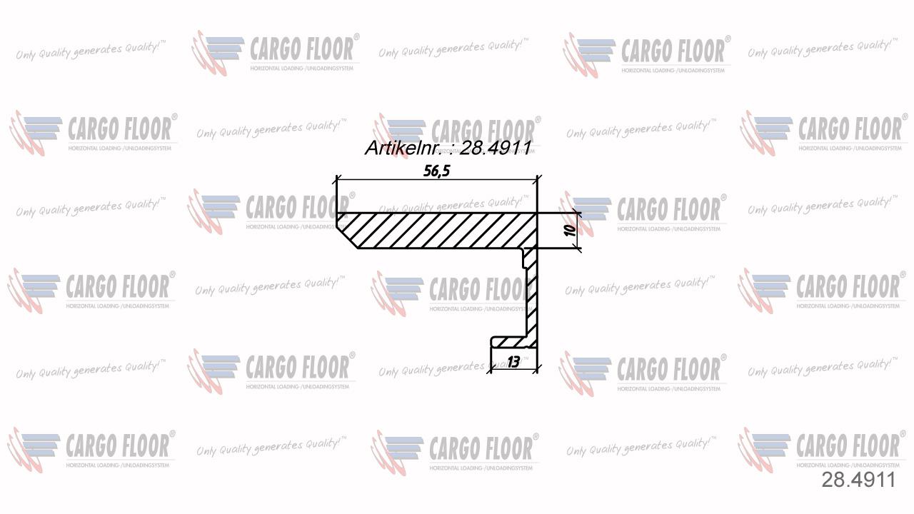 Алюминиевый боковой профиль 10/56,5мм Л/П арт. CargoFloor 28.4911