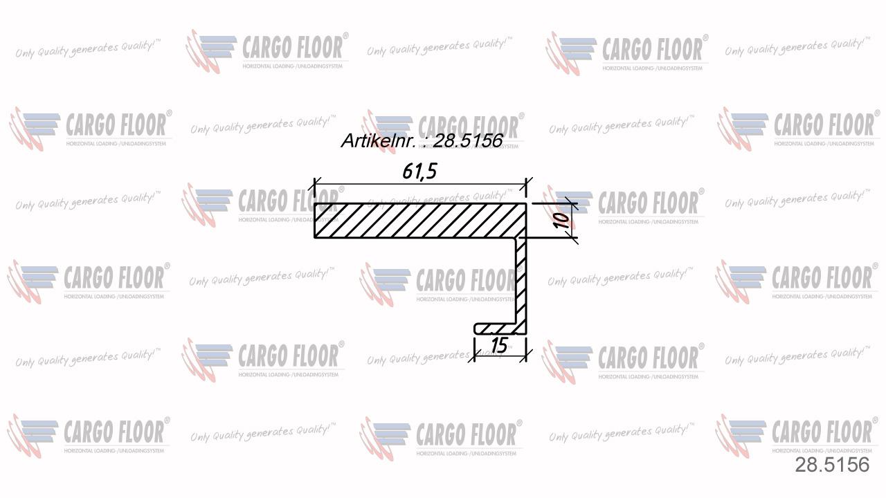 Алюминиевый боковой профиль 10/61,5мм Л/П арт. CargoFloor 28.5156