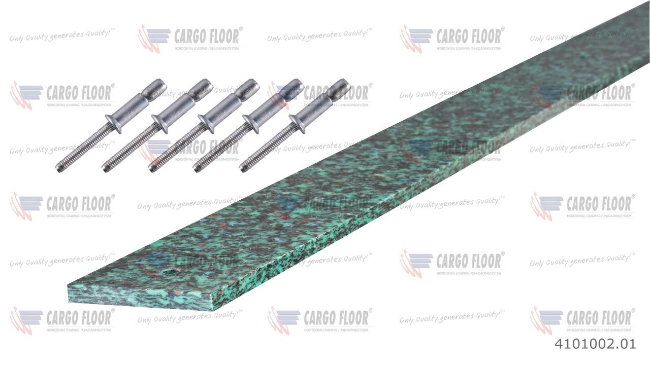 Пластиковая опорная пластина повышенной прочности 1.990 x 60 x 7 мм с 5 потайными отверстиями Ø 6,5 мм, для вкл. слепых заклепок арт. CargoFloor 4101002.01