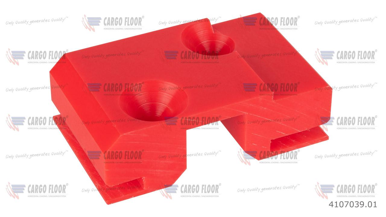 Красный пластиковый противоподъемный блок направляющих повышенной прочности для монтажа на трубу 25/25 мм для стального L-образного напольного профиля Cargo Floor  (98x60x32 мм с 2 отверстиями ø7 мм) арт. CargoFloor 4107039.01