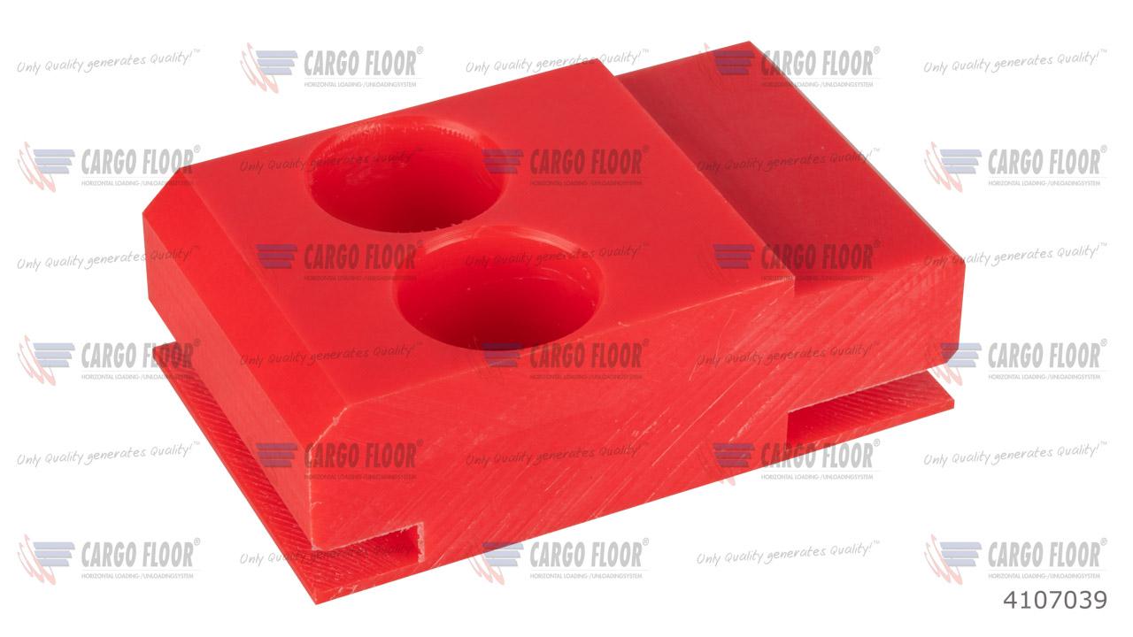 Красный пластиковый противоподъемный блок направляющих повышенной прочности ддля стального L-образного напольного профиля Cargo Floor  (98x60x32 мм с 2 отверстиями ø7 мм) арт. CargoFloor 4107039