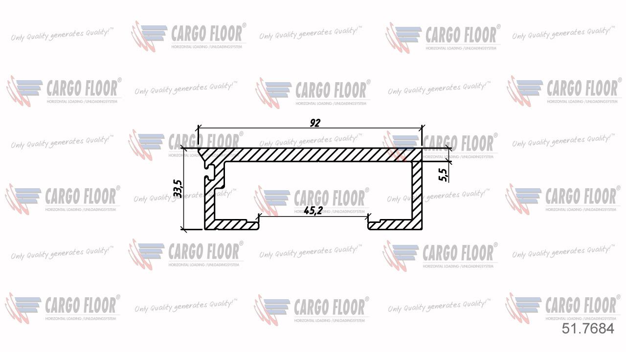Алюминиевый профиль 5,5/92мм гладкий арт. CargoFloor 51.7684