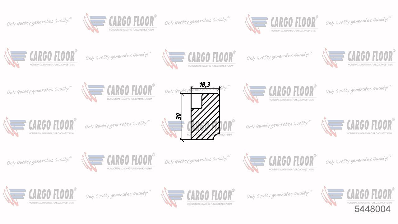 Алюминиевый боковой закрывающий профиль L.=220мм SLP на стороне уплотнителя арт. CargoFloor 5448004
