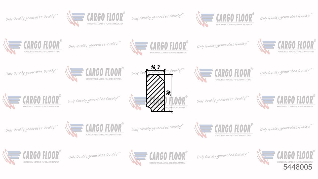 Алюминиевый боковой закрывающий профиль L.=220мм SLP НЕ на стороне уплотнителя арт. CargoFloor 5448005