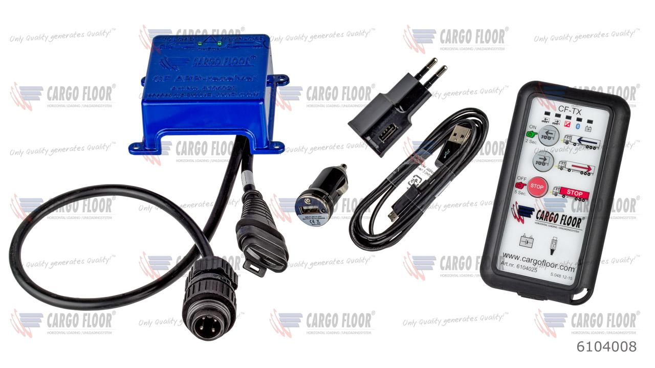 Комплект беспроводного пульта ДУ Cargo Floor с 3 функциями, состоящий из: APP-приемник (вкл. разъем 4P Hirschman и CAN-шину) и (6104025) беспроводной пульт ДУ (CF TX, вкл. зарядное устройство UBS 100-240VAC + автомобильное зарядное устройство + кабель зар арт. CargoFloor 6104008