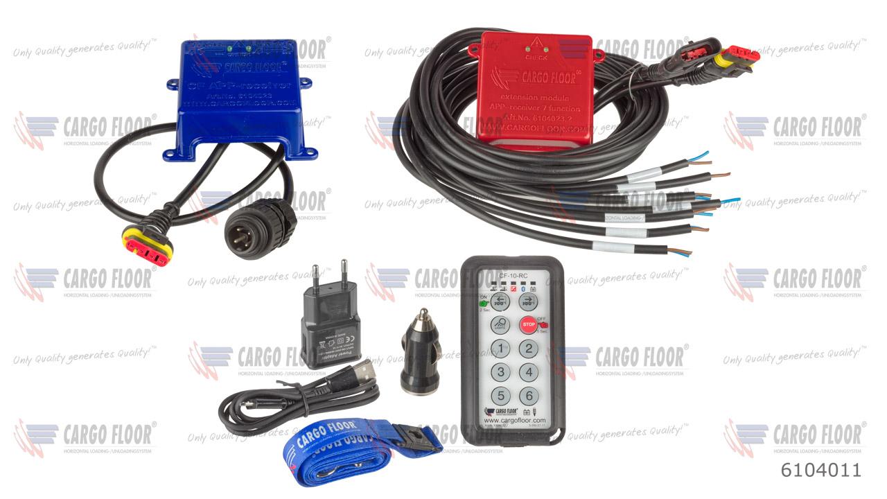 Комплект беспроводного пульта ДУ Cargo Floor с 10 функциями, состоящий из: APP-приемник (вкл. разъем 4P Hirschman и CAN-шину), APP-приемник (дополн. 7 функций, вкл. CAN-шину)  и беспроводной пульт ДУ (CF TX, вкл. зарядное устройство UBS 100-240VAC + автом арт. CargoFloor 6104011