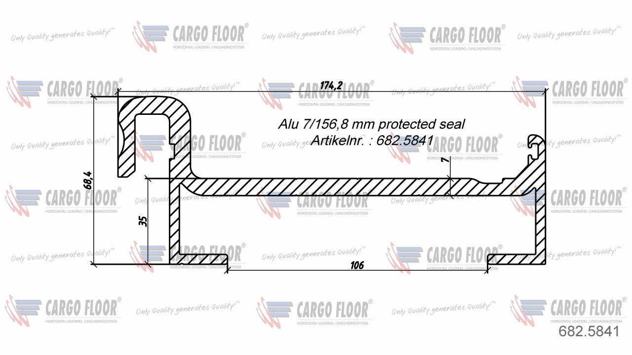 Алюминиевый профиль 7/156,8мм с защитным уплотнителем арт. CargoFloor 682.5841