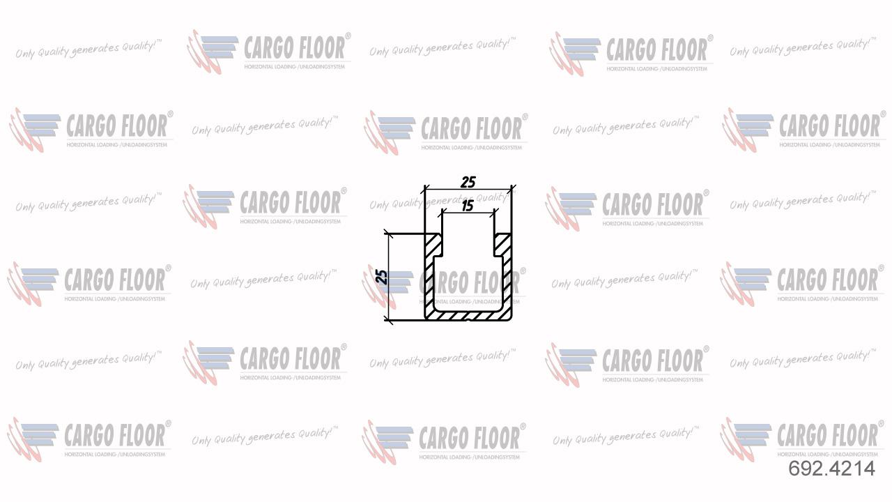 Алюминиевый U-образный профиль 25x25мм (для системы Snap-on) арт. CargoFloor 692.4214