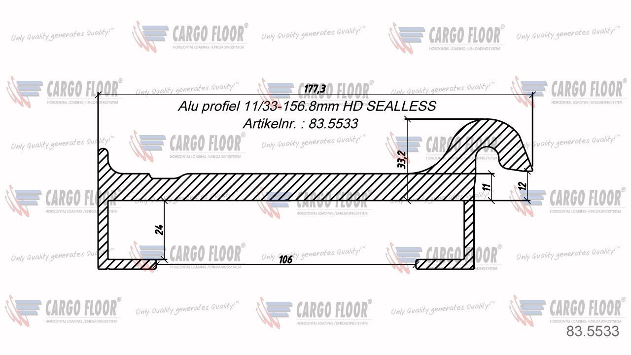 Алюминиевый профиль без уплотнителя 11/33-156,8мм HD SEALLESS арт. CargoFloor 83.5533